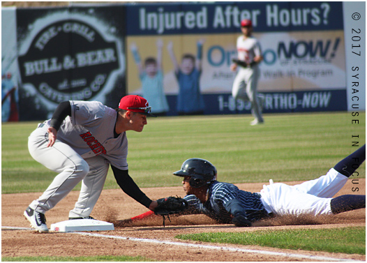 Chiefs centerfielder Rafael Bautista stole third base after doubling in the first inning of today's second contest of the double header with Rochester. Rochester won the first game today 6-2 and 10-4 the second game. After two postponed games, the swept the weekend series.