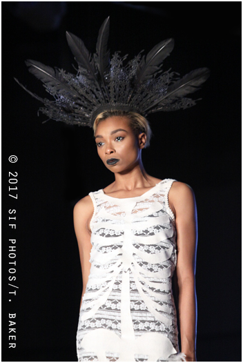Model FreedomX always wears it well on the runway. Here she is repping Jennifer Lee Maas.