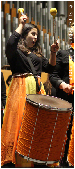 A student from Samba Laranja performs at Crouse College during the semester concert.