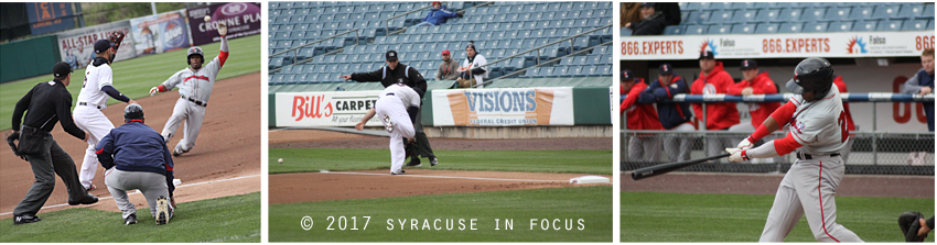 During the first inning of tonight's game Pawtucket's Aneury Tavarez got greedy and tried to stretch a double into a triple during the first inning , but found out that Brian Goodwin has a  canon arm in  right field. He was called out at third.