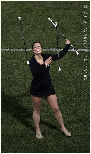 Meghan Sinisi, the twirler, performed at NBT Bank Stadium on Friday night.