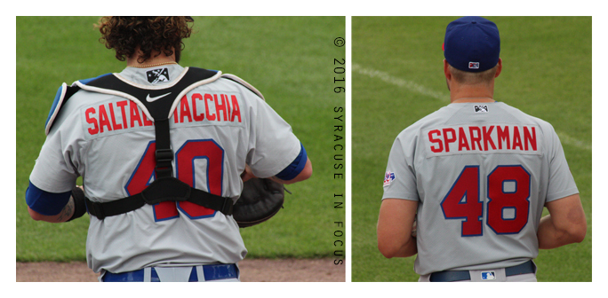 The Buffalo Bison finally got on the winning track in Syracuse thanks to pitcher Glenn Sparkman. He is pictured here in the bullpen before entering the game with another colorful name: Jarrod Saltalamacchia (left)