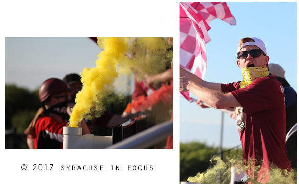 This week the yellow smoke and red checkered flag signaled victory for Syracuse FC.