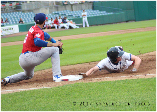 The Chiefs are on a win streak and have defeated the Buffalo Bison two straight games thanks to some active bats. Centerfielder Andrew Stevenson went 2-for-4 yesterday. He is shown here in the bottom of the third inning getting back to first after taking a lead. Syracuse won last night 2-1.