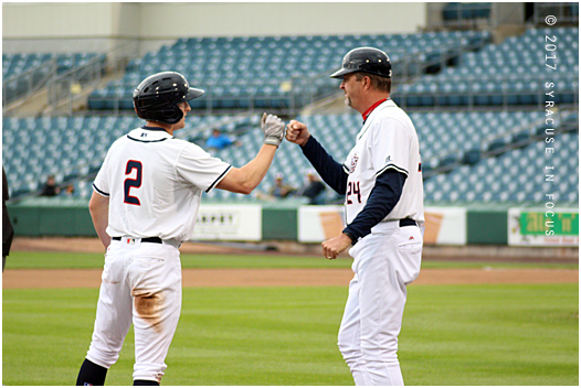 ...he reached third on an error (where he was congratulated by manager Billy Gardner, Jr.) and later scored on a sacrifice fly by Brandon Synder
