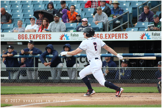 Chiefs centerfielder Andrew Stevenson hit a single in the first inning of last night's game against Scranton/Wilkes-Barre