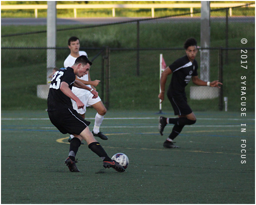 Syracuse FC took 8 shots on goal last night against FC Buffalo. Two of them, one by Jacob Kohlbrenner (pictured) and another by Nate Bourdeau made it thru. After tonight's win, Syracuse will host Erie on Saturday.