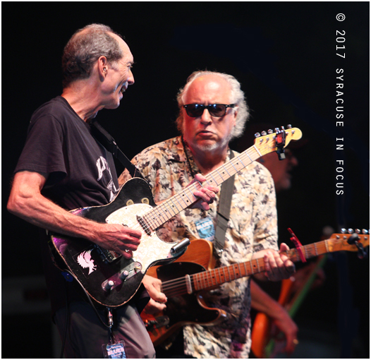 The latest stop on the blues highway for the Nighthawks included a show for the New York State Blues Festival in Clinton Square. Here Paul Bell and guest Bob Margolin chop it up on a Chuck Berry tune.