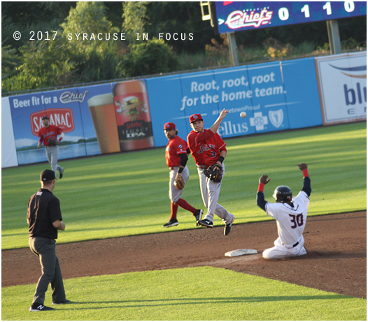 Louisville Bats shortstop Zach Vincej made an acrobatic play in the bottom of the 5th inning last night to double up Alejandro De Aza and  Michael Almanzar. But  Alejandro De Aza hit a walk off homer to win the game in the bottom of the 9th.