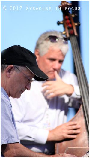 Jim Colemon watches on as Bobby Jones pounds away on the keys. They were part of the Bobby Militello Quartet.