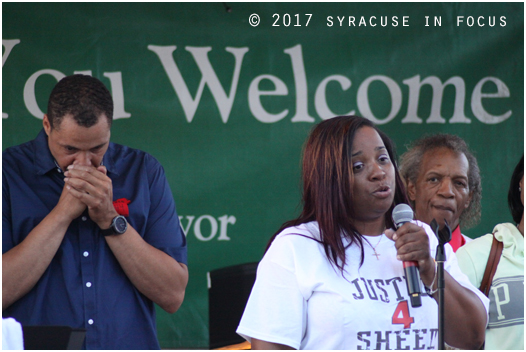 Rasheada Caldwell, mother of recent gun violence victim Rasheed Baker, spoke at an event for Parks & Recreation on Friday.