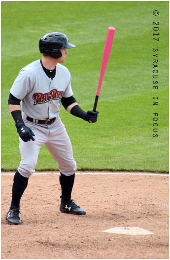 Clint Frazier hit a home run in his Yankee debut. He is pictured here during a spring visit to Syracuse with the Scranton/Wilkes Barre Railriders.