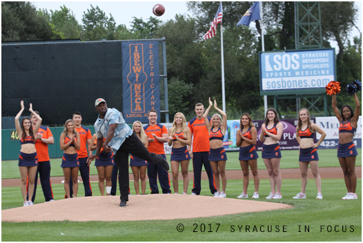 Coach Dino Babers tossed out the ceremonial first pitch at NBT Bank Stadium last night. This year he threw out a football (a perfect spiral btw)