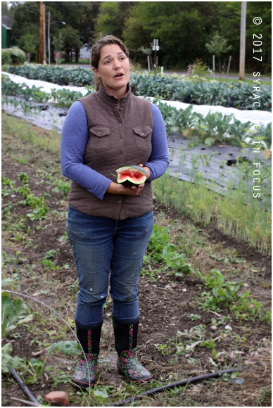 Jessi Lyons, urban farm coordinator at Brady Farm, gave a tour of the facilities for Farm Fest 2017.