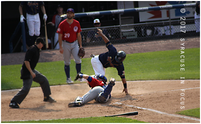 The Chiefs and catcher Jhonatan Solano came within a few seconds of taking the last game of the season against the Buffalo Bison to extra innings. Despite the strong finish and robust crowd, and the Salt Potato uniforms, the Chiefs lost 3-2.
