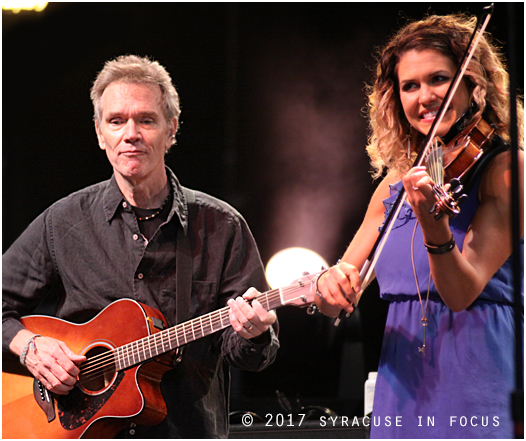 This year at the Syracuse Irish Festival Steve Phillips (left) of The Elders played a tune on stage he produced for The Moxie Strings.  He is pictured here with Diana Ladio.